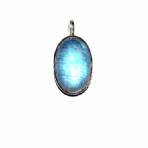 Rainbow Moonstone Pendant Silver medium Oval stone 'One-Off'